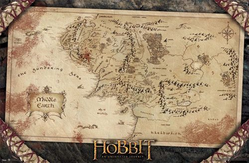map of middle earth poster from jrr tolkiens the hobbit available at wwwsportsposterwarehousecom