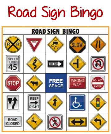 Road Sign Bingo In Kids Crafts Travel Printable Road Trip Games