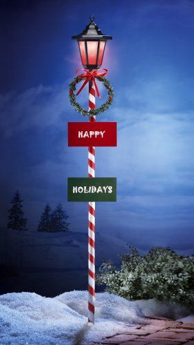 happy holidays solar lamp post outdoor christmas decoration