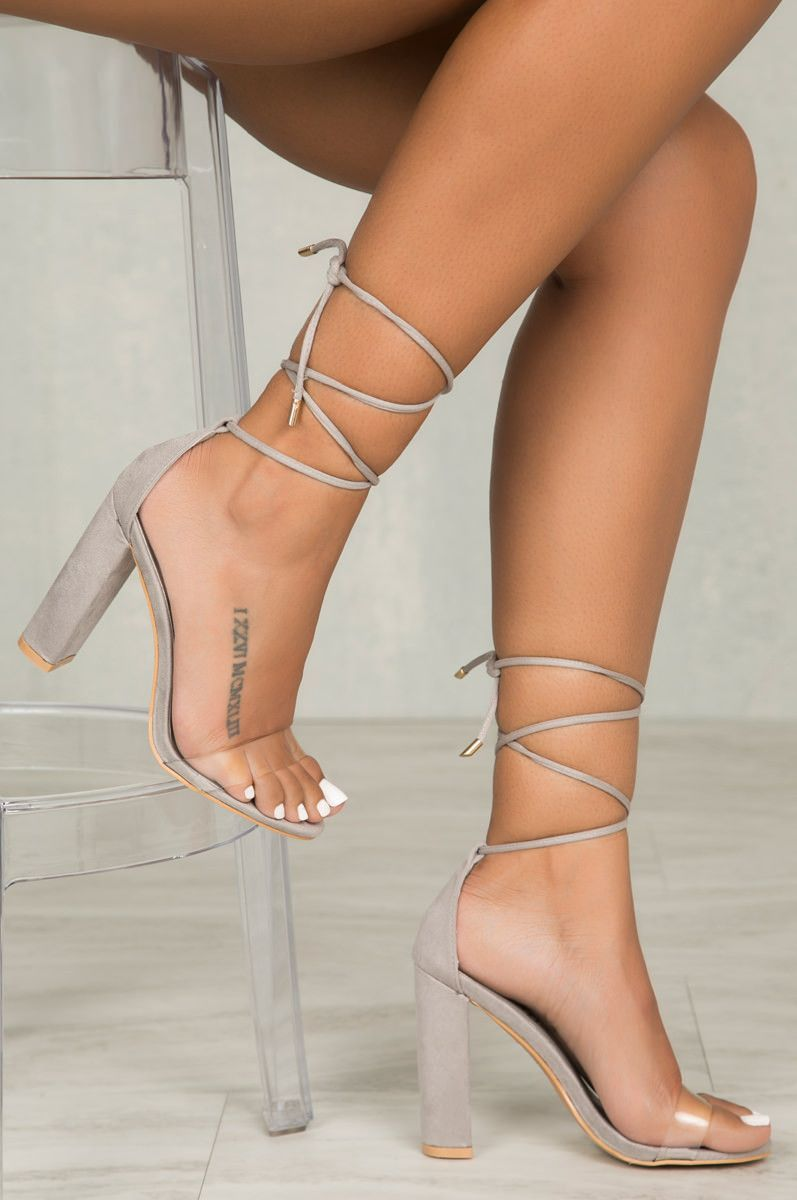 36b3e184b65a Wicked Lace Up Block Heel (Grey)