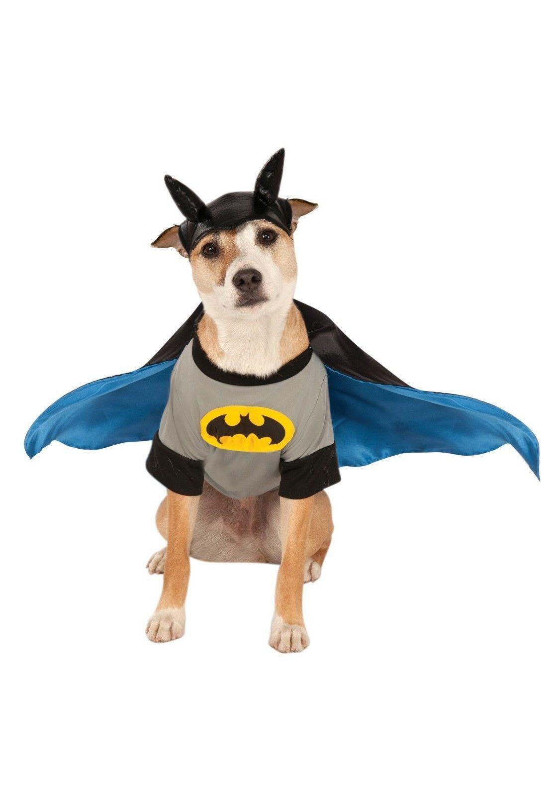 Batman Pet Costume Shirt With Detachable Cape Headpiece Sz Xs