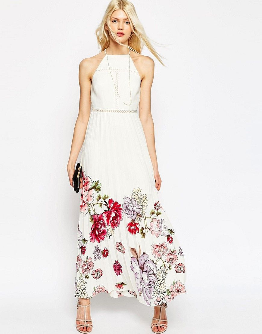 Image 1 of ASOS Occasion Pleated Maxi Dress With Floral Border Print ...