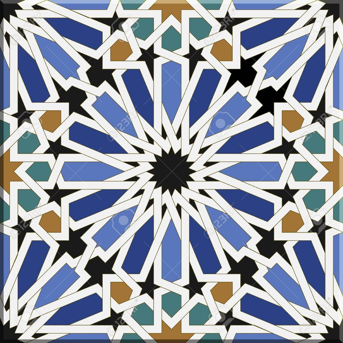 Arabic Tiles Seamless Pattern Based On A Design Found In Seville Spain All Elements Sorted And Grouped In L Islamic Art Pattern Geometric Drawing Islamic Art