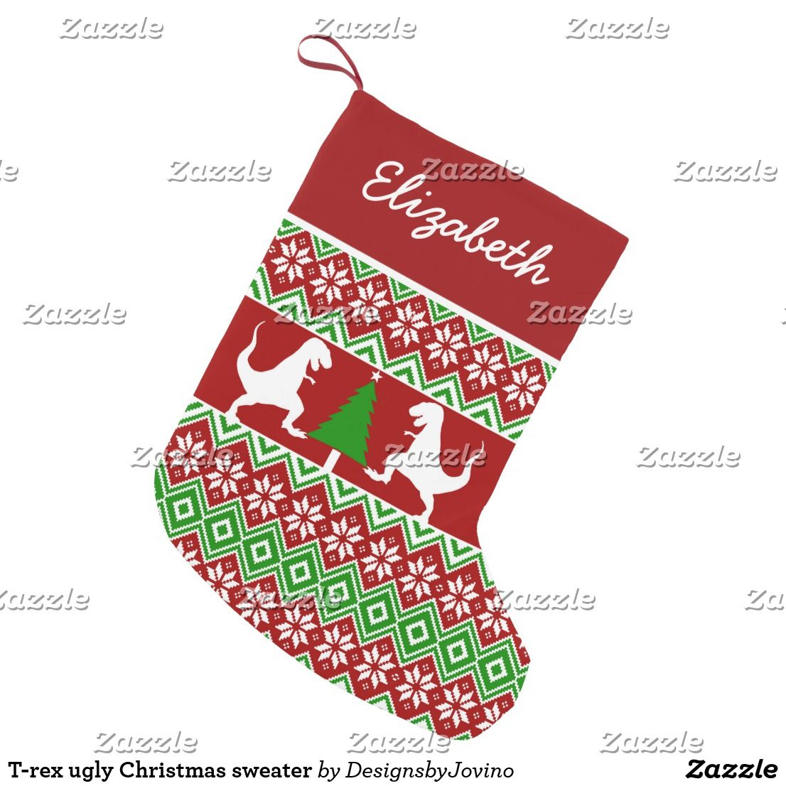 t rex ugly christmas sweater small christmas stocking