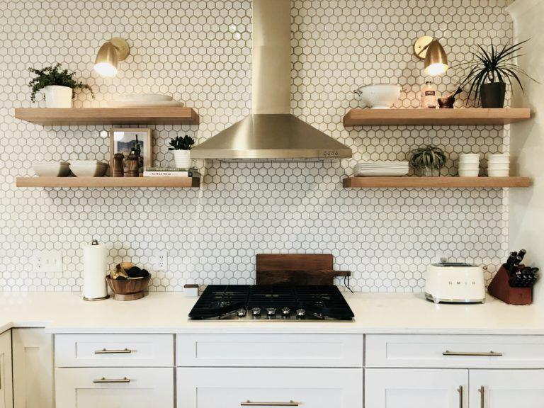 Floating Shelves Custom Butcher Block Shelves Walnut Wood Works In 2020 Kitchen Credenza Modern Kitchen Rustic Kitchen