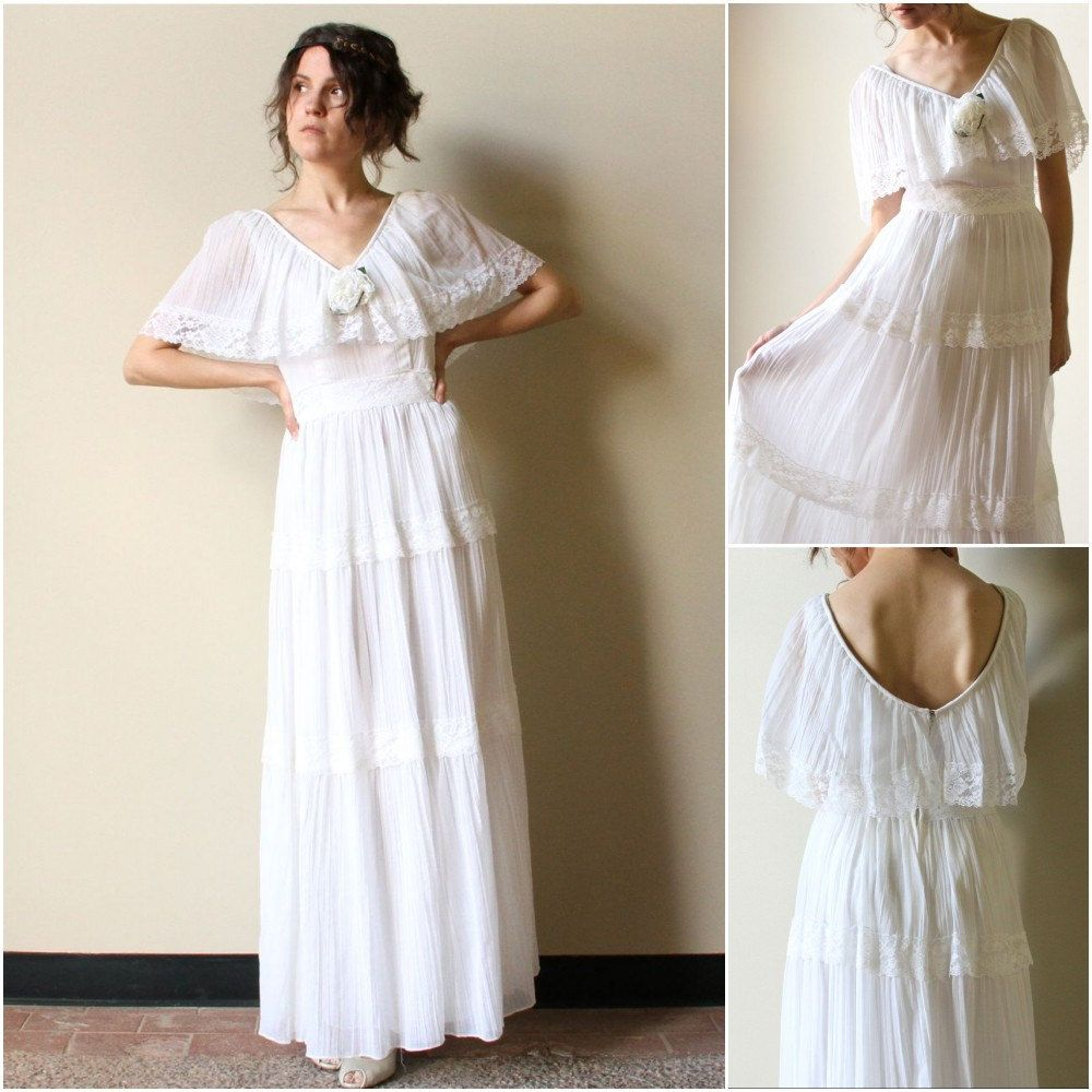 Reserve 70s hippie wedding dress vintage boho peasant for Bohemian white wedding dress