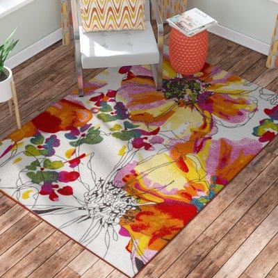 Zipcode Design Princess Bright Flowers Orange White Area Rug Rug Size Floral Disenos De Unas Multicolor