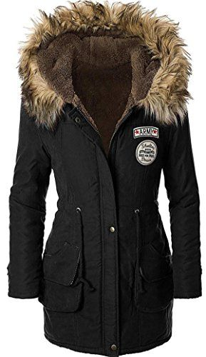 22425f42bba9 Sugar Pocket Manteau Femme Chaud Parka Hiver Fourrure avec Capuche  Militaire Style - Noir col de fourrure - Taille M