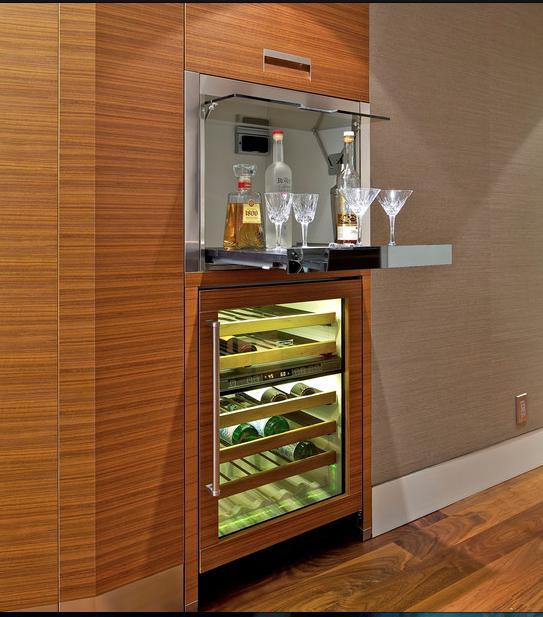 Mini Bar Kitchen: Wet Bar Hidden With Drop Down, Wall Of Cabinets Vs. Visual
