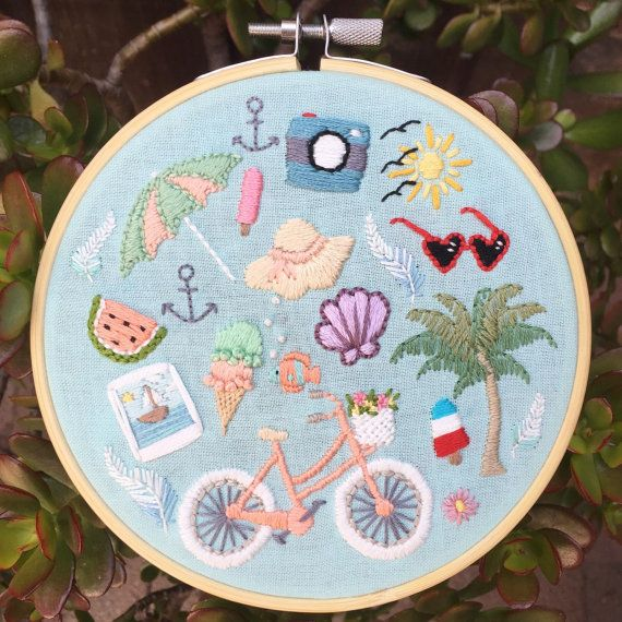 A Day At The Beach hand embroidery hoop art, tiny hand embroidered items- bicycle, sunglasses, ice cream, etc. Nautical summer wall art