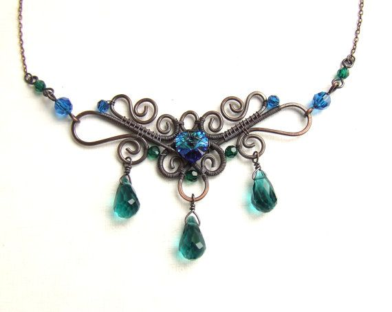 Emerald green necklace with blue heart Swarovski by VeraNasfa