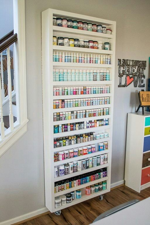 Paint Storage Shelf On Casters Craft Room Storage Craft Closet Organization Craft Room Office