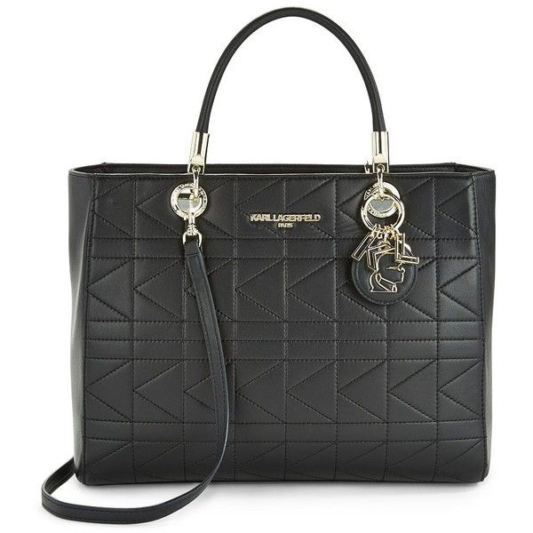 Karl Lagerfeld Paris Miranda Quilted Leather Tote (195 CAD) ❤ liked on Polyvore featuring bags, handbags, tote bags, black, quilted leather handbags, tote hand bags, quilted leather purse, shoulder bag purse and zip top tote
