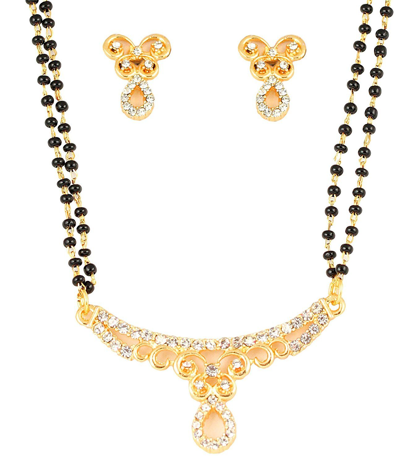 Touchstone gold tone Indian bollywood ethnic white rhinestones pretty mangalsutra necklace set jewelry for women JG08a5LLZV