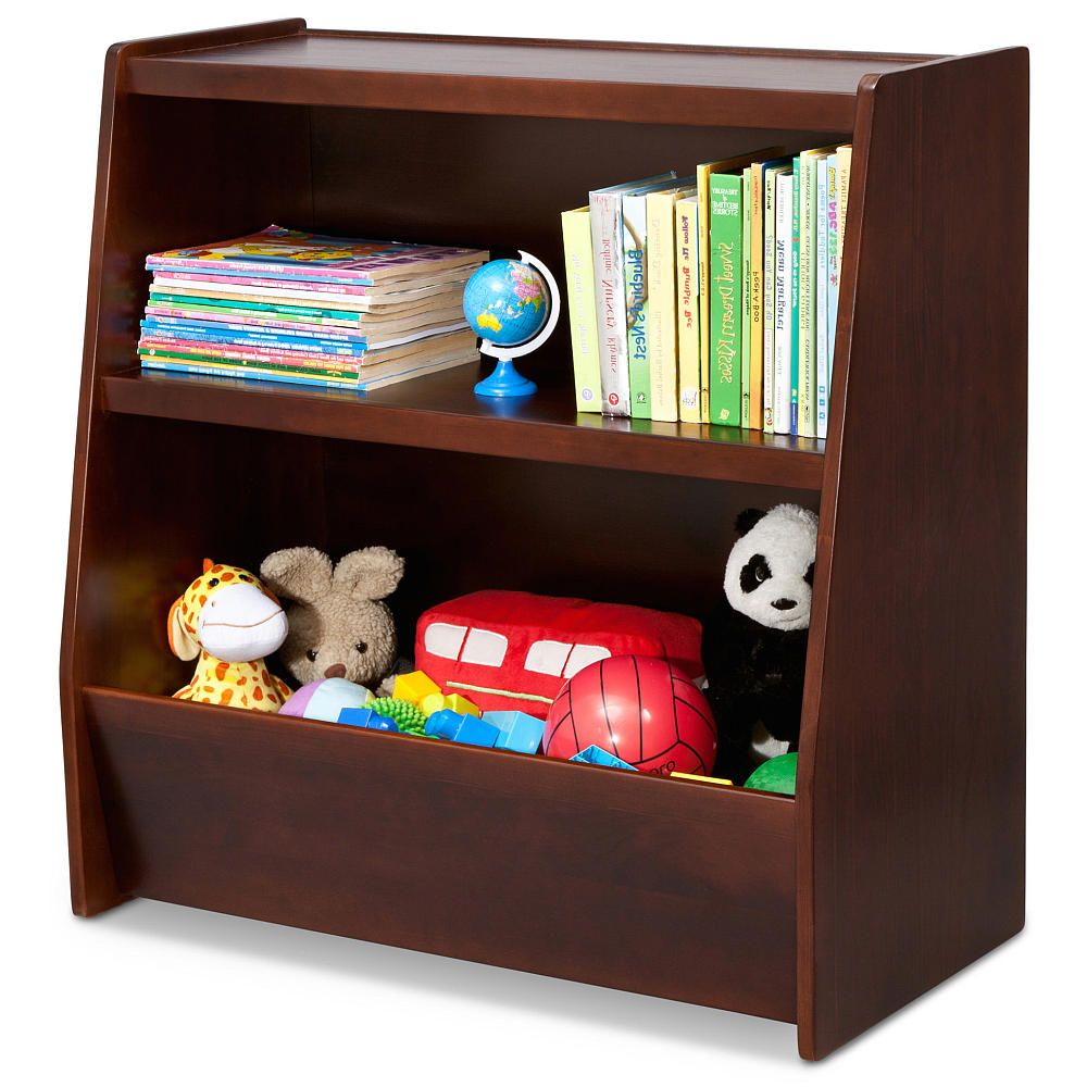 Decorative Bookshelf With Function Above Shelves Of Books And Under Toys Shelf For Kids