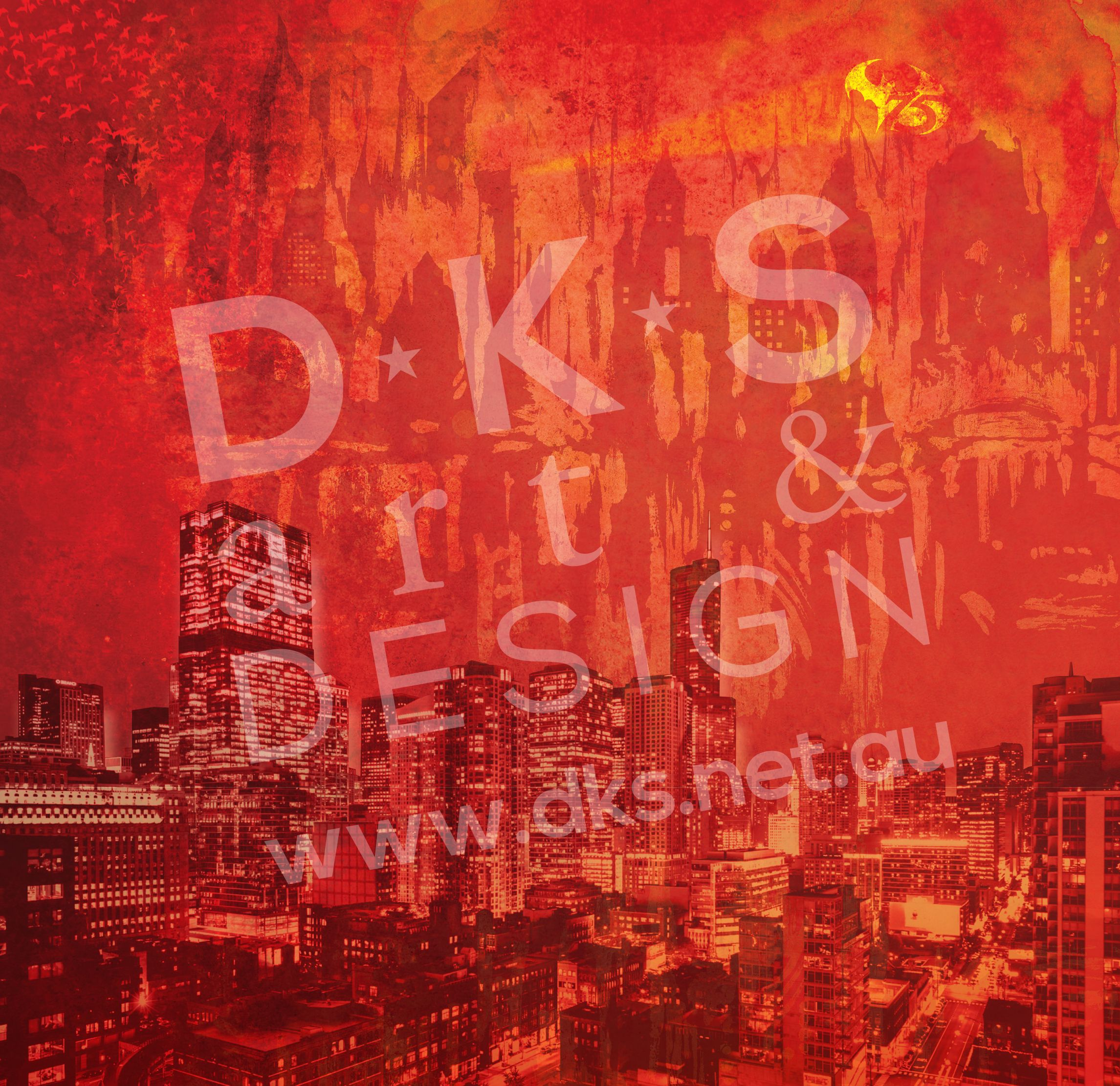 Batman Gotham City Background Design 1 For Detolf Display Cabinet. #Batman  #GothamCity #Detolf #DKSartDesign