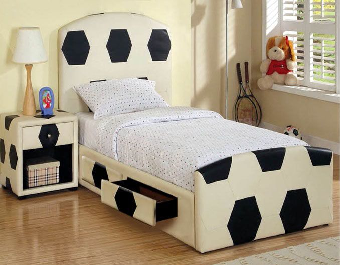 White Boys Bedroom Decorating Ideas With Soccer Theme