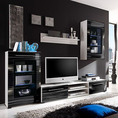 Ebay Angebot Wohnwand Sahara Anbauwand Wohnzimmer In Schwarz Und Weiss Mit 3D Folie LEDIhr