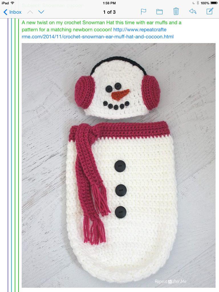 Baby snowman cocoon | Crochet | Croché, Ganchillo, Bebe