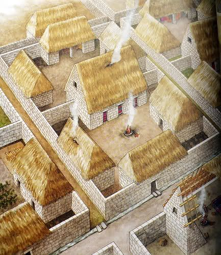 Inca Building Materials : Drawing of the reconstructed inca houses at machu picchu