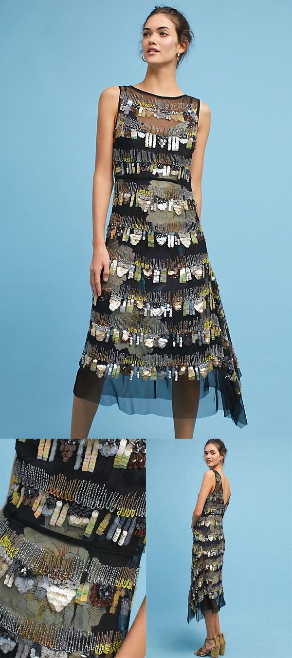 Tracy Reese Beaded High-Low Dress Black Motif dress, formal dress ...