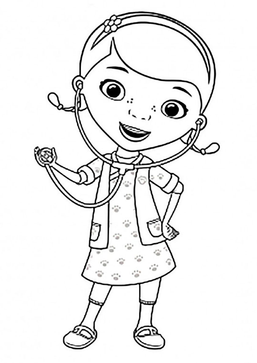 Doc Mcstuffins And Stethoscope Cartoon Coloring Pages