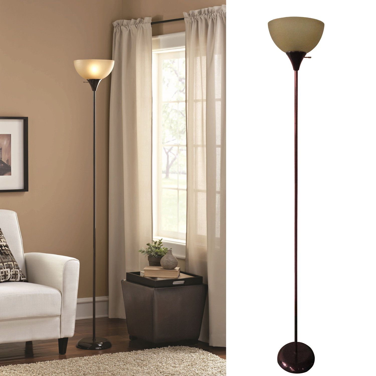 71 Tall Modern Floor Lamp Living Room Light Shade Brown Metal Stand Home Dec Living Room Floor Lamp Lighting Modern Floor Lamps Floor Lamps Living Room Modern