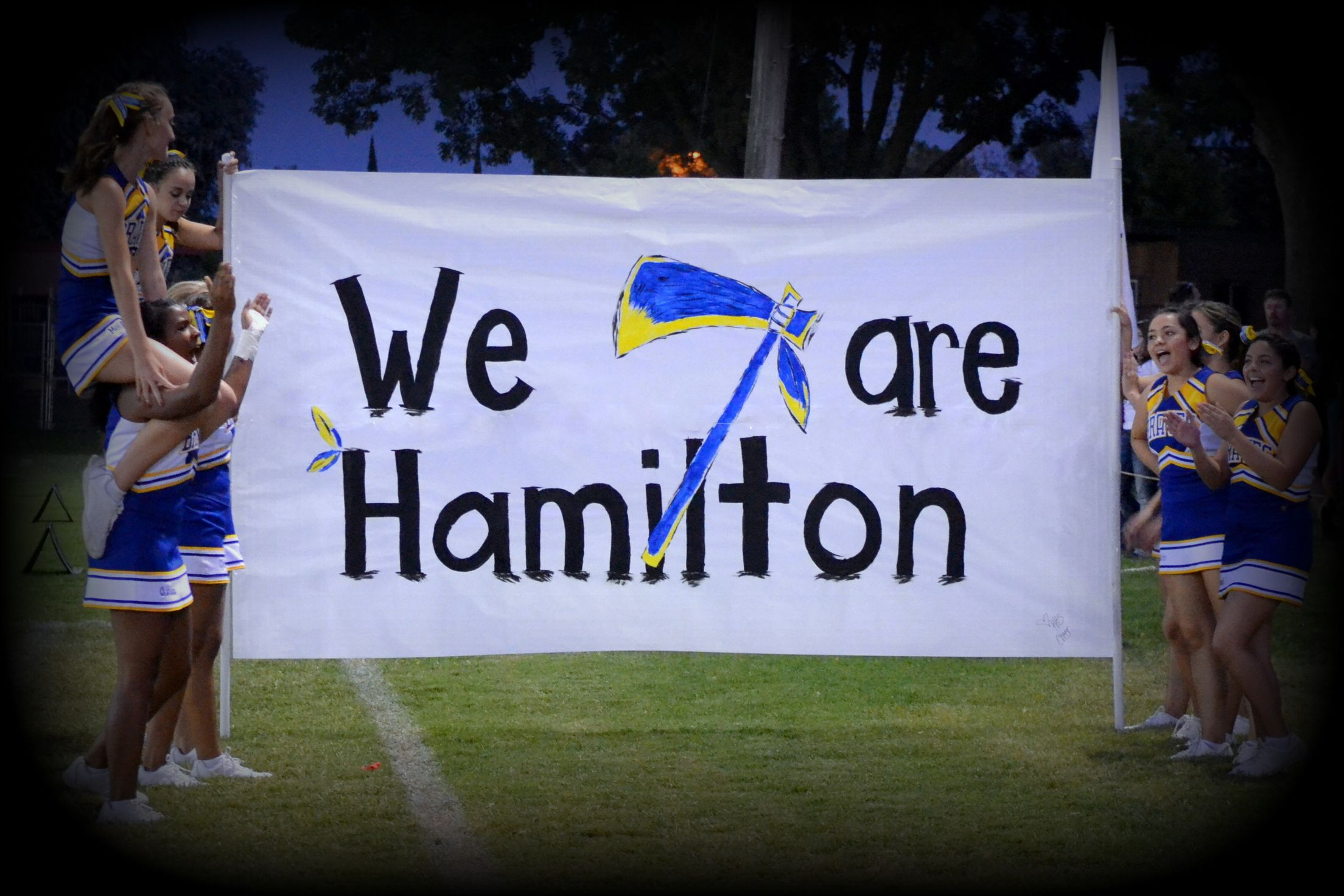 We Are Hamilton Hamilton Braves School Name Brave Head Tomahawk School Insignia Incorporated To High School Football Signs Football Banner Cheer Signs