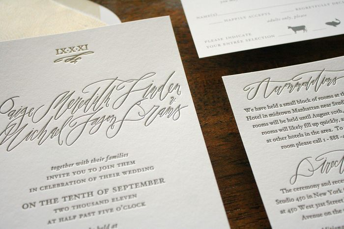 Modern New York City Calligraphy Invitations