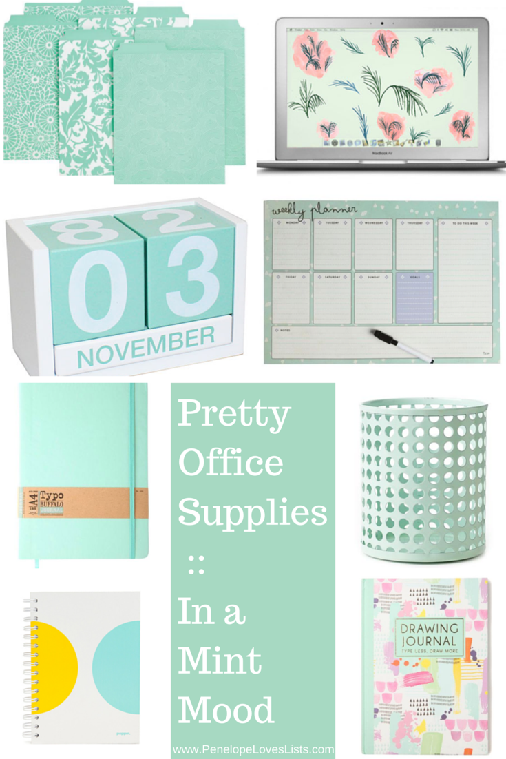 Pretty Office Supplies __ In a Mint Mood