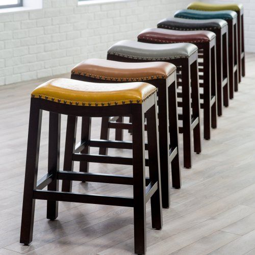Belham Living Hutton Leather Backless Saddle Counter Stool with Nailheads at Hayneedle : saddle style counter stools - islam-shia.org