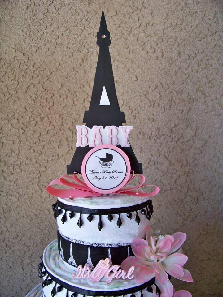 Paris Themed Baby Shower Eiffel Tower Diaper Cake | Paris ... |Eiffel Tower Diaper Cake