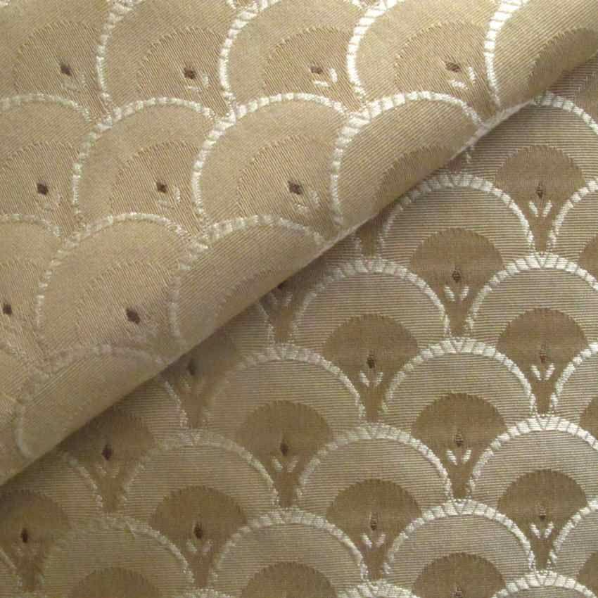 Art Deco Nouveau Beige Flat-weave Curtain And