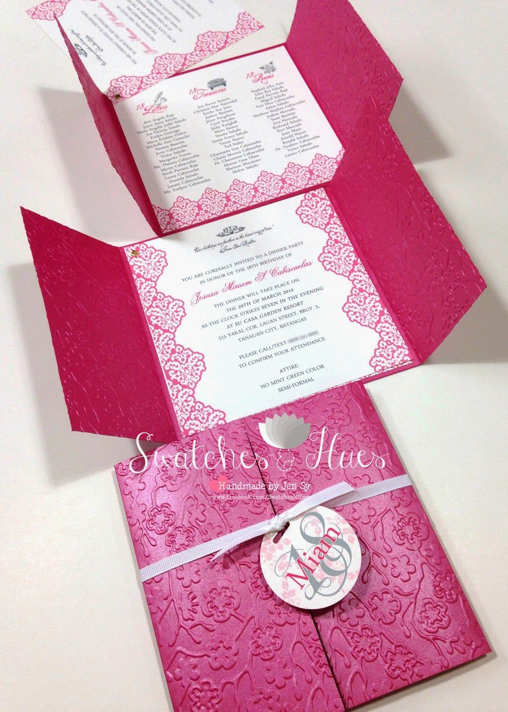 princess themed gate fold invites with embossed design handmade