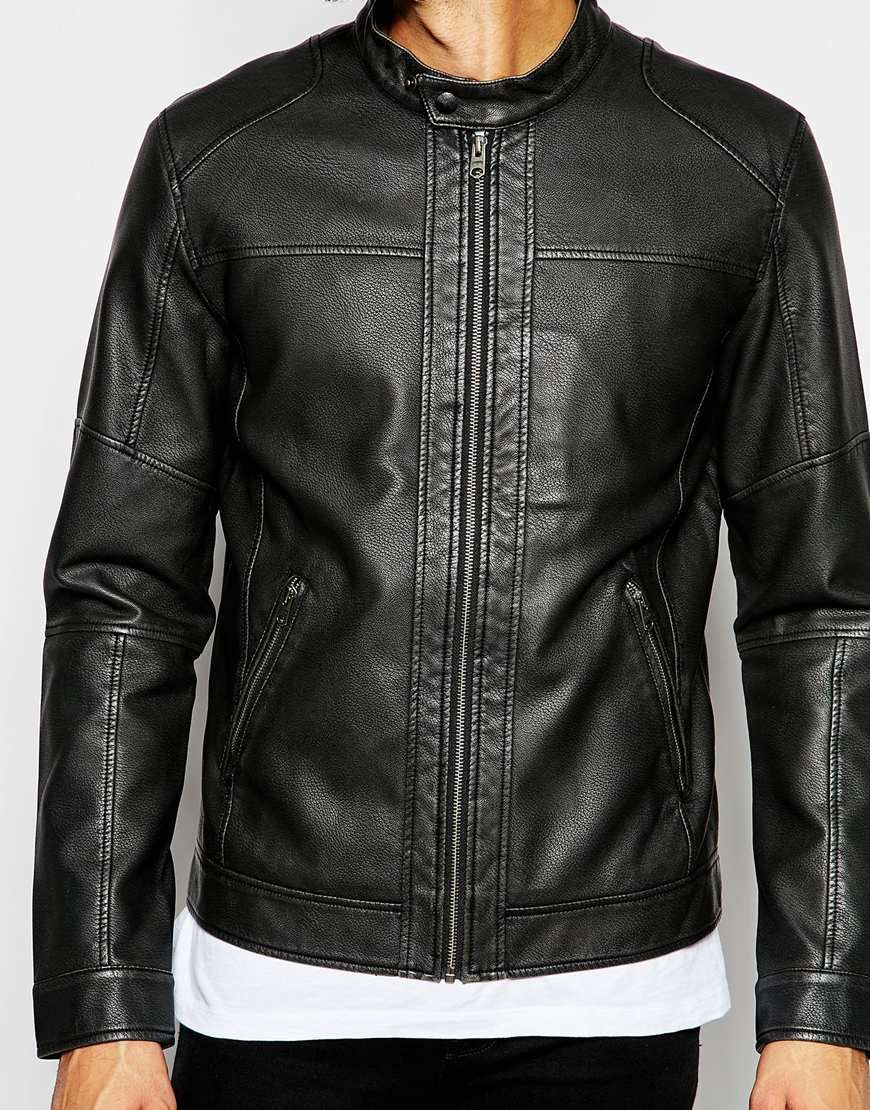 Jack Jones Faux Leather Jacket With Biker Collar At Asos Com Leather Jacket Faux Leather Jackets Jackets [ 1110 x 870 Pixel ]