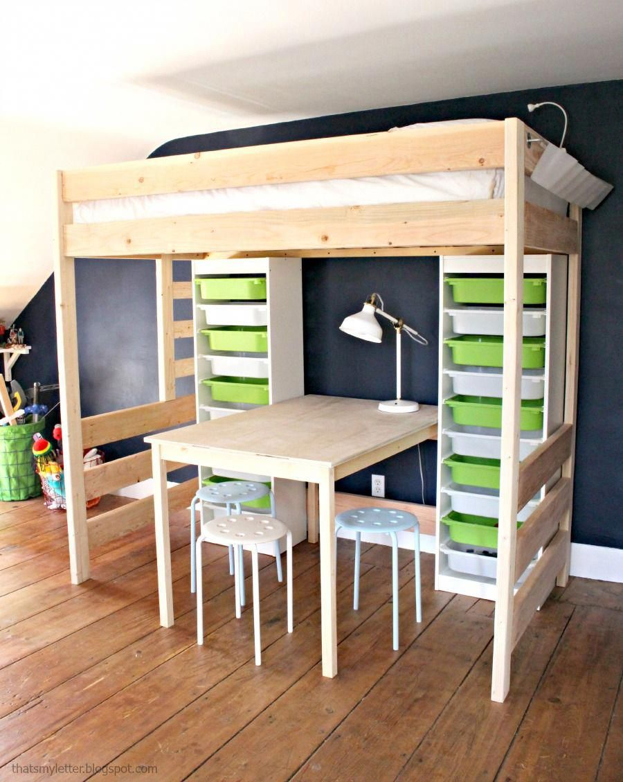 Low loft bed with desk and storage  DIY loft bed with table and storage underneath too tall for our