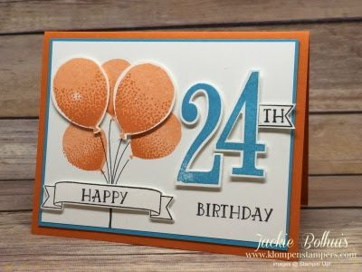 Simple card made using Stampin' Up! BALLOON CELEBRATION & NUMBER OF YEARS stamp sets. All the details are on the blog! Created by Jackie Bolhuis, Stampin' Up! Demonstrator. 100's of StampinUp card ideas on blog.