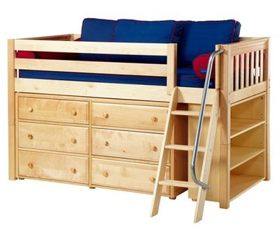 Maxtrix Kicks2 Low Loft Bed With Dresser And Bookcase Bed Frames