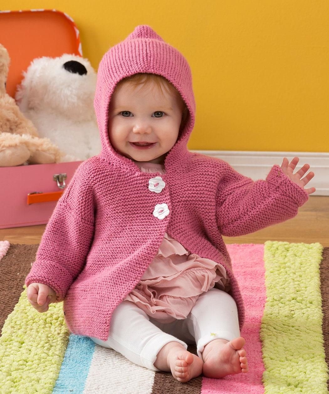 Precious Playtime Hoodie Free Knitting Pattern from Red Heart Yarns ...