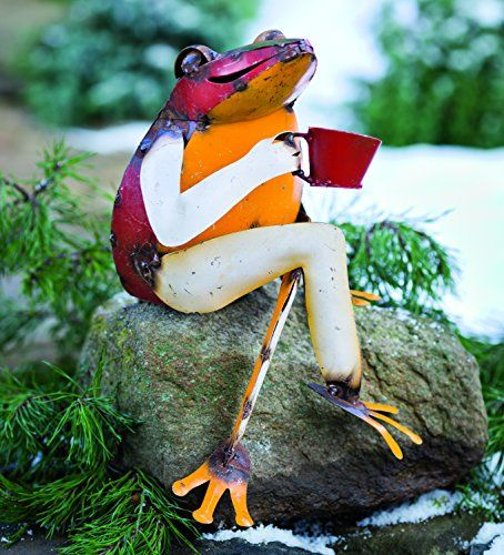 Recycled Metal Coffee Frog Garden Art >>> You can get more details
