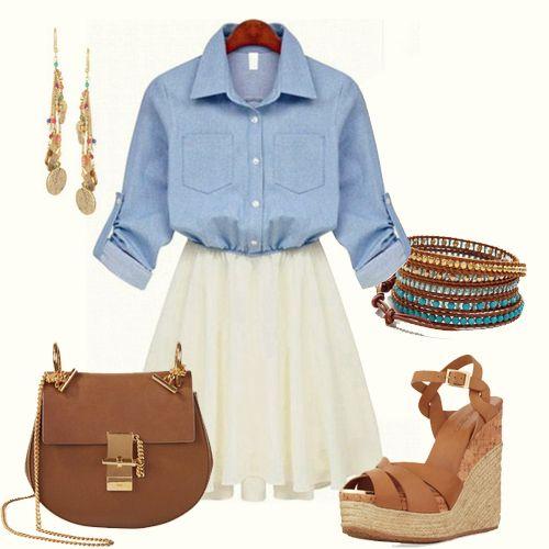 Blue Long Sleeve Denim Contrast Chiffon Ruffle Dress