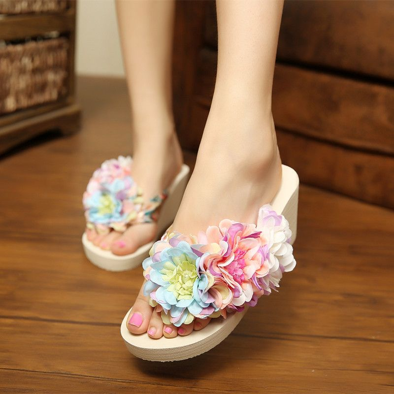 9f09d70bdc82 Summer Style Wedges Women Slippers Designer Flip Flops Thick Bottom Beach  Slippers Women Shoes Bohemia Flower