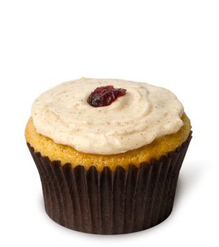Cranberry Orange Spice – A lively orange zest cupcake with cranberries folded into the batter, topped with an autumn-spice icing and garnished with dried cranberries. A cupcake no Thanksgiving table should be without! Available Thanksgiving week ONLY.