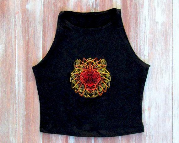Mandala Lion Crop Top-Yoga Crop Top-Workout Crop by ZellyaDesigns