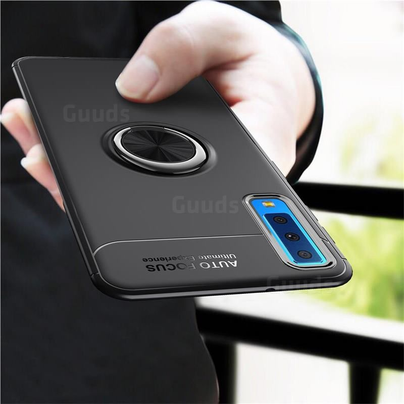 Auto Focus Invisible Ring Holder Soft Phone Case For Samsung Galaxy A7 2018 Black Galaxy A7 2018 Cases Guuds Phone Cases Silicone Cover Protective Cases
