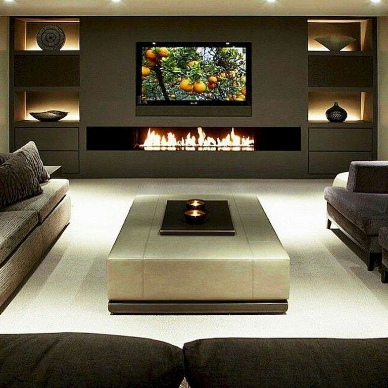 Tips For Home Theater Room Design Ideas: 65+ Awesome DIY Living Room Fireplace Ideas