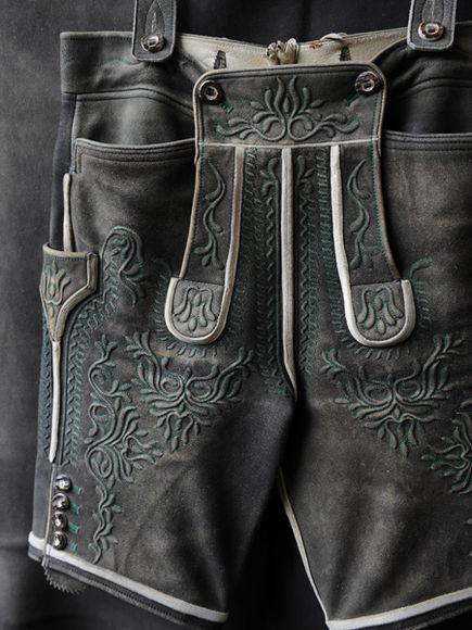 Lederhosen are deerskin shorts handstitched by Austrian craftsmen to last a lifetime. This pair was made by Peter Ahamer, of Ebensee. Photo: Sisse Brimberg & Cotton Coulson