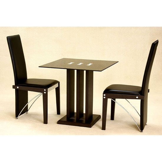 Troy Black Glass 2 Seater Dining Set