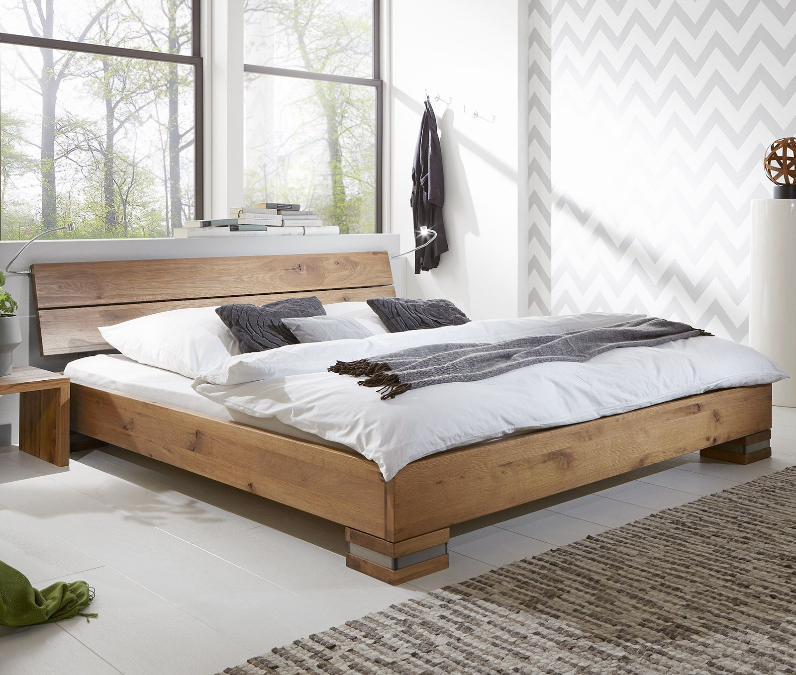 Massivholzbett Und Kopfteil In Rustikaler Eiche Curada Futon Wohnzimmer Schlafzimmer Diy Diy Bett