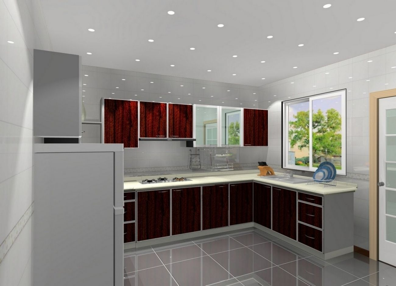 L Shape Kitchen Decoration Using Light Grey Kitchen Wall Paint Inside Light Gray Kitchen Kitchen Design Software Interior Design Kitchen Simple Kitchen Design